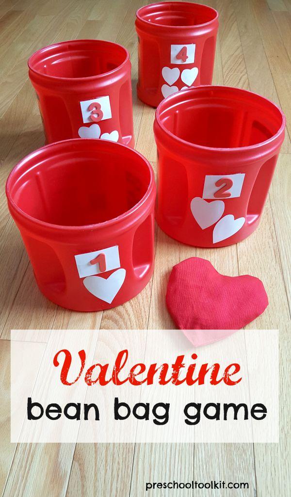 Valentine bean bag game for kids - Preschool Toolkit