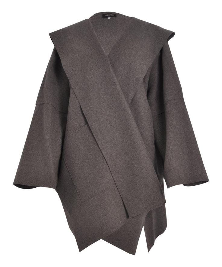 Grey Felt Wool Hooded Coat by Eskandar