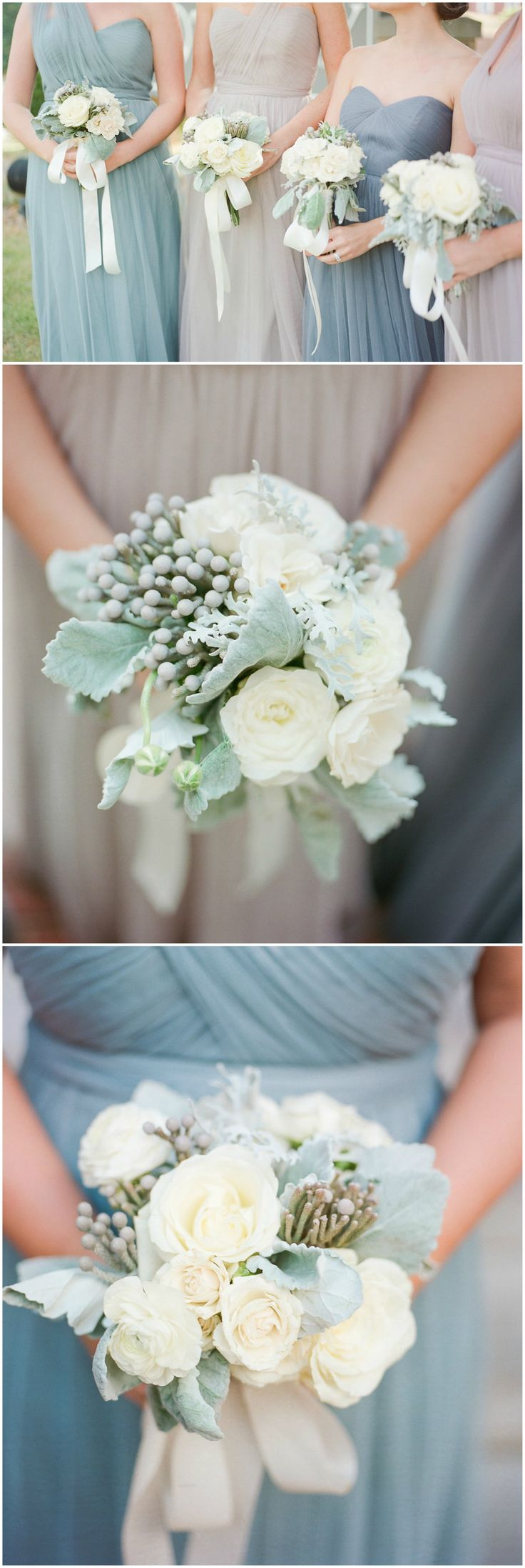 Pastel bridal party, mismatched chiffon bridesmaid dresses, blue and blush colored gowns, cream roses, white wedding bouquets, silk ribbons // Rachel & Noah Ray Photography