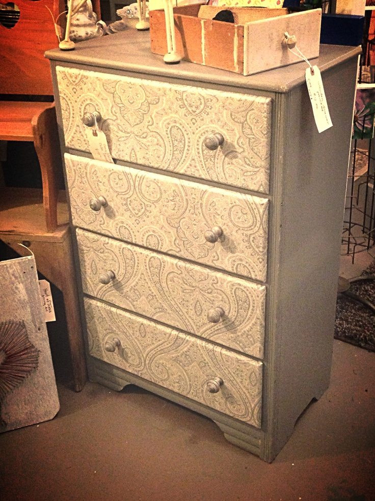 Love this child's dresser!!!! Fabric covered drawer fronts! Cute!!!