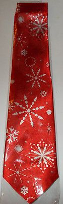 Red Snowflake Holiday Novelty Tie