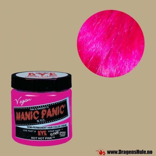 En krukke med 118ml semi-permanent hårfargekrem av merket Manic Panic. Røres/rystes godt før bruk. Semi-permanent betyr at fargen vaskes gradvis ut i løpet av noen ukers tid. Denne fargen skinner under Ultrafiolett lys! (Også kjent som UV-lys eller Blacklight) Vær oppmerksom på at slik farge er annerledes enn det du får kjøpt f.eks. i dagligvarebutikker. FØR du farger noe som helst: Les om hvordan slike hårfarger skal brukes.Felles for all semi-permanent hårfarge er at resul...