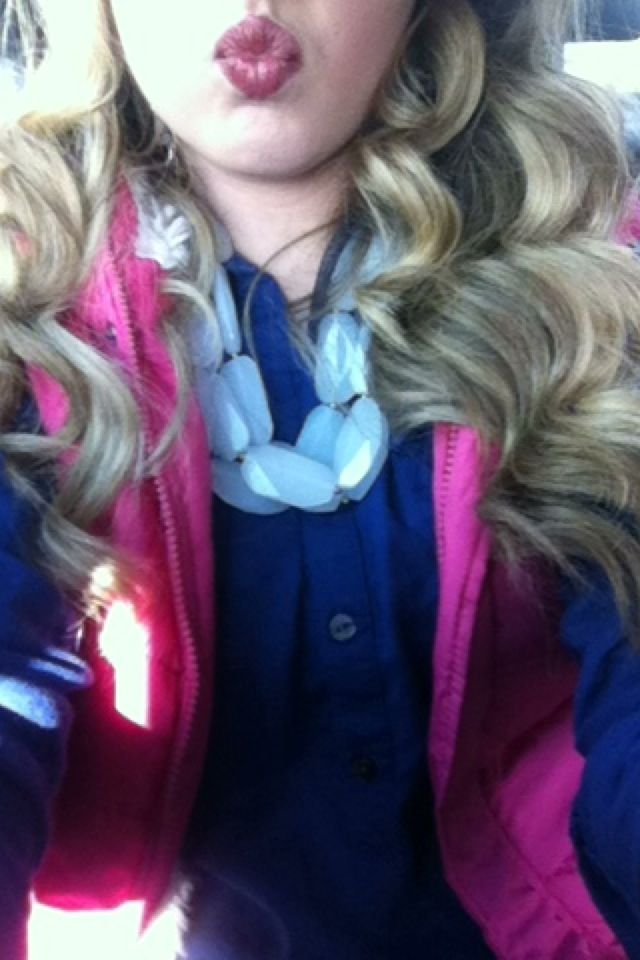 Hot pink vest with navy blue polo! :) winter fashion!