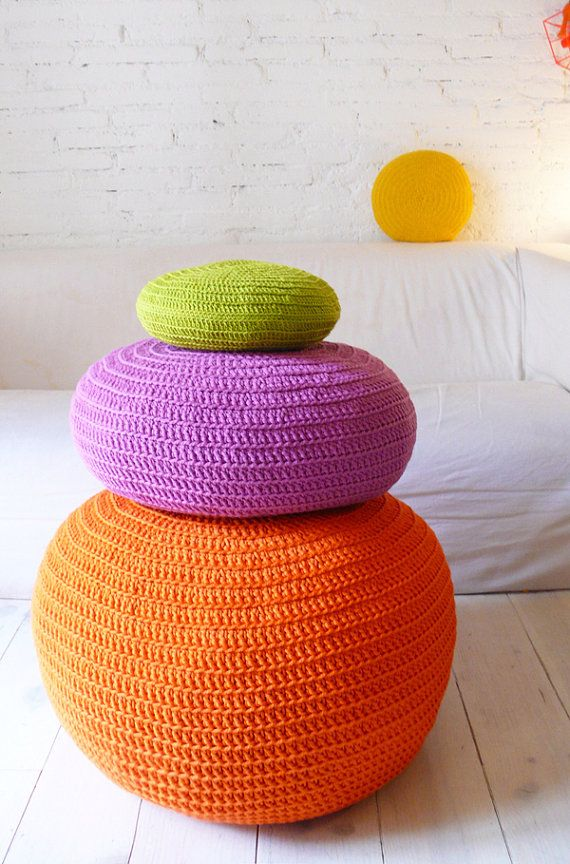 Autumn Fall Handmade Orange  Pouf Crochet big  Orange by lacasadecoto on Etsy, €75.00
