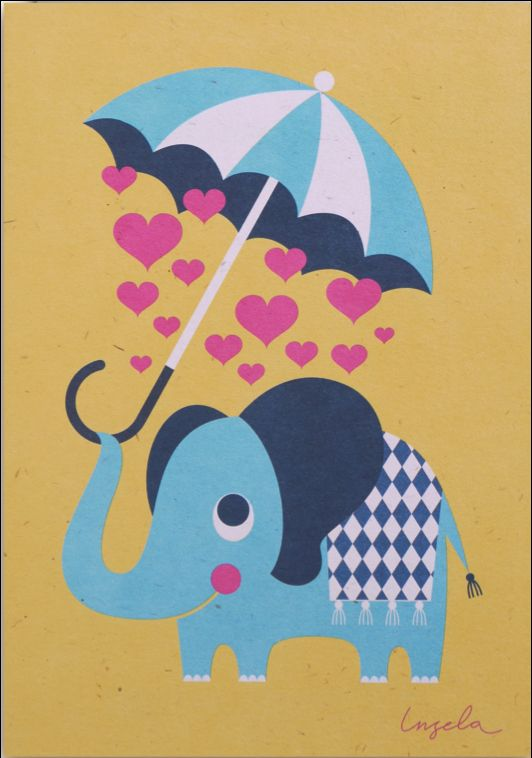 Greeting #card #elephant #love #valentine by #Ingela P #Arrhenius from www.kidsdinge.com https://www.facebook.com/pages/kidsdingecom-Origineel-speelgoed-hebbedingen-voor-hippe-kids/160122710686387?sk=wall #kidsdinge #toys #speelgoed