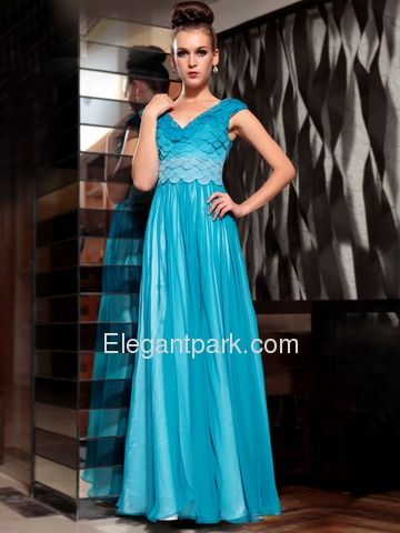 Blue A-Line V Neck Cap Sleeves Ruffled Floor Length Tencel Chiffon Prom Dress