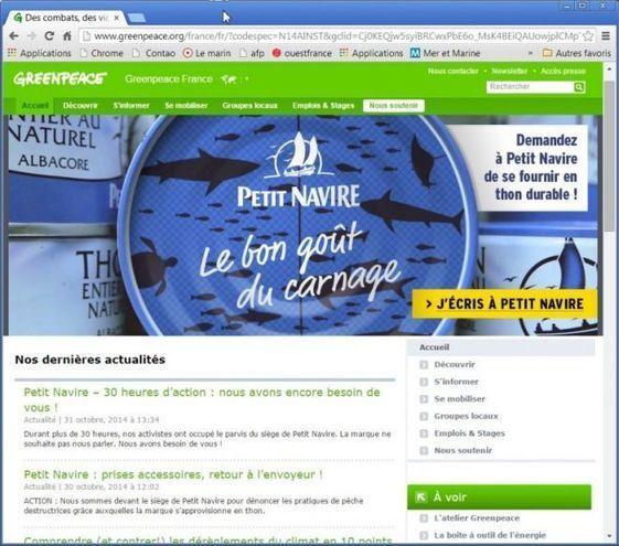 Greenpeace poursuit son coup de force médiatique à l'encontre du thon Petit Navire