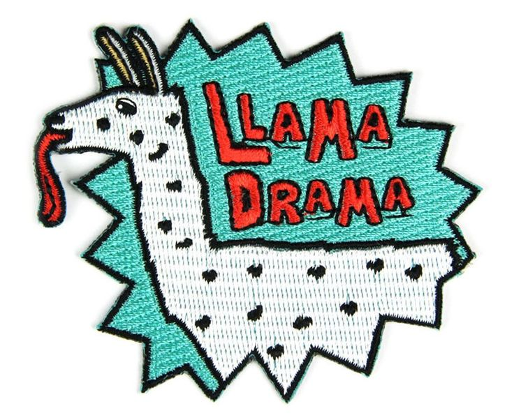 Llama Drama Embroidered Sew or Iron-on Backing Patches