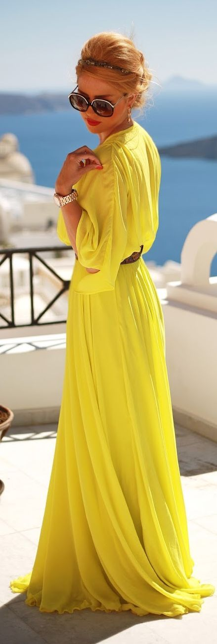 #Modest doesn't mean frumpy. #DressingWithDignity www.ColleenHammond.com   Finezze Bright Yellow Pleated Floor Length Gown Dress by Fashion Painted Dreams