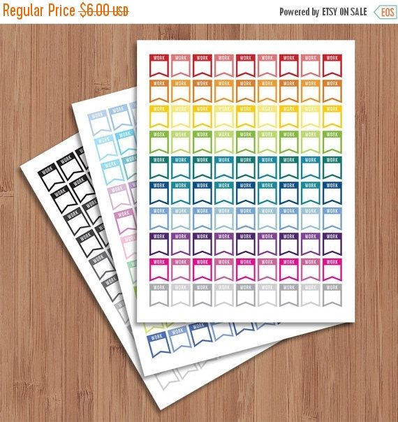 80% off Entire Shop Work Stickers - All Colors - Package - Instant Download - Digital Artwork by mormonlinkshop  1.20 USD  Work Stickers for your planner. Each tile has a work flags. The tiles come in many different colors. It can easily be used with your daily planner or in your calendar journal book etc. Hang this now and start decorating today! The JPEG PDF and PNG files will become available for instant download once your payment is confirmed. Once purchased this file may be printed as…