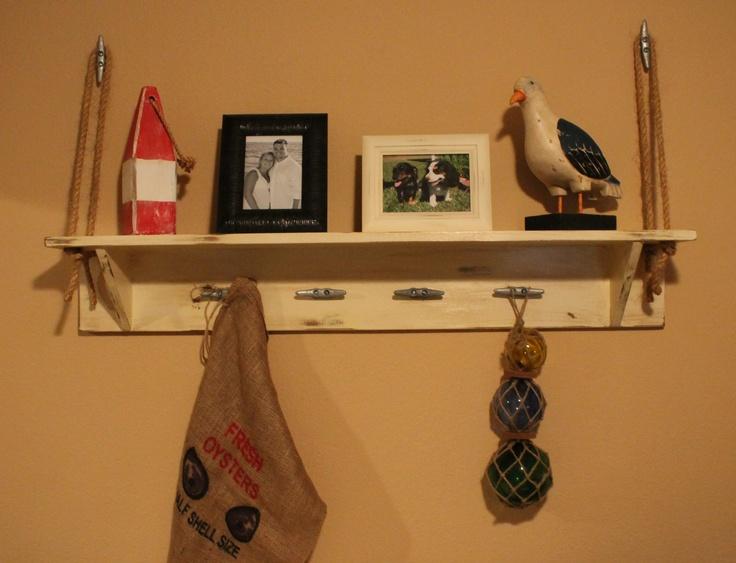 Handmade distressed shelf for nautical nursery... LOVE