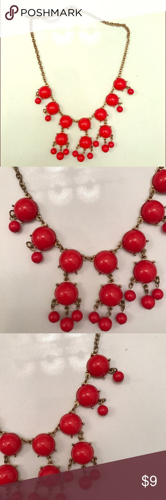 Red Bubble Necklace Red Bubble Necklace with gold adjustable chain, only worn once Charming Charlie Jewelry Necklaces