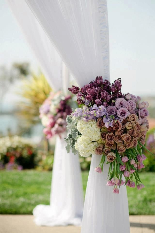 Tie Backs floral wedding arbor drape huppah mauve wedding colors lavender purple