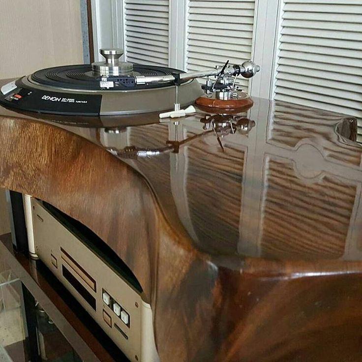 Denon Direct Drive turntable Solid Teak treestump crafted into beautiful custom audio console.