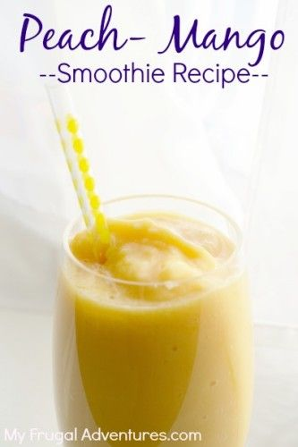 Peach Mango Smoothie Recipe {Healthy Breakfast idea}.  Prep these ahead of time for a super fast grab n go snack!