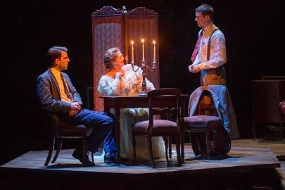"Tom (Zachary Quinto), Amanda (Cherry Jones) and Jim (Brian J. Smith) in ""The Glass Menagerie. Photos by Michael J. Lutch."