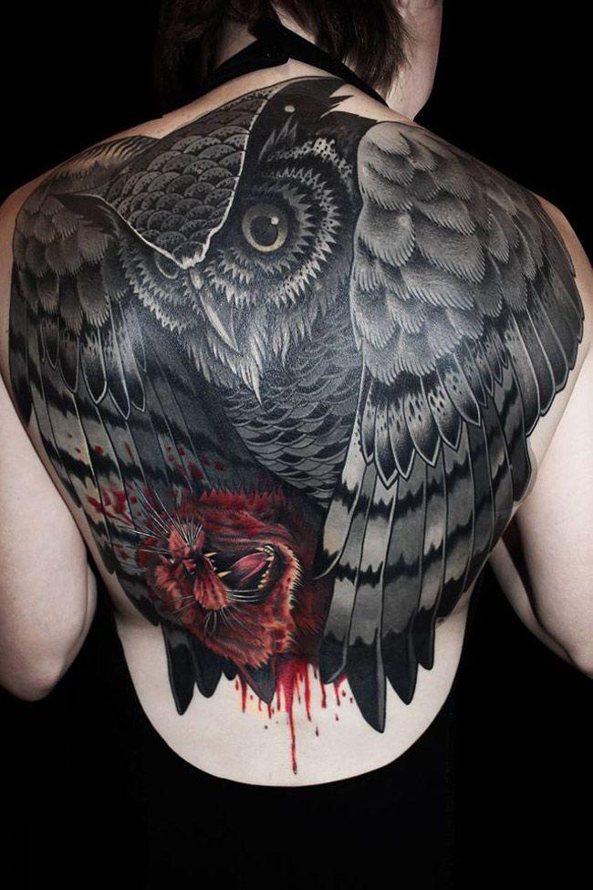Owl With Kill Back Full Tattoo | Best tattoo design ideas
