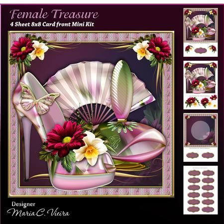 Female Treasure Card front Kit on Craftsuprint designed by Maria Christina Vieira  - Female treasure 8X8 Mini Kit,A four sheet mini kit with matching Insert,sentiment labels, layered decoupage flowers, and Topper. Approx. 8x8Labels: Happy Birthday, Someone Special, With Love, Thank You, Best Wishes, Mother, Sister, Sweet Sixteen, Happy 25.th, Happy 21.st, Teacher, and one blank. - Now available for download!