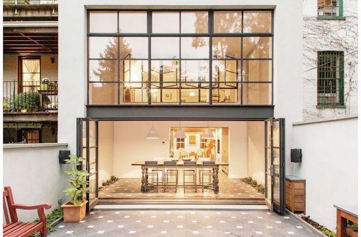 Stunning Steel Windows Home Exterior Tile Floor