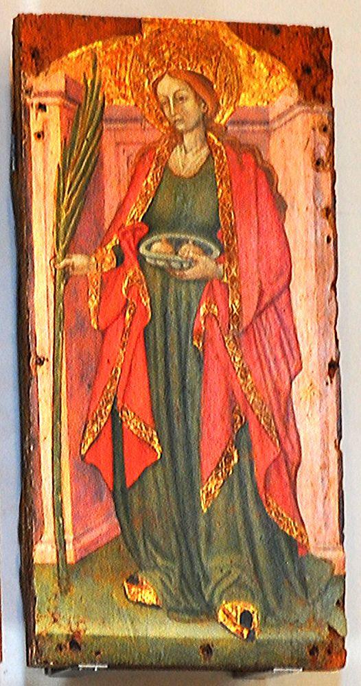 sv. Agata, 3. st., sa Sicilije; škare, kliješta, grudi na pladnju - za Decijevih progona mučena, ne želi se udati za Kvintilijana, odrezane su joj grudi, bačena u vatru ali se spasila čudom, utamničena i stavljena na žeravicu, potres u kojem su mučitelji poginuli