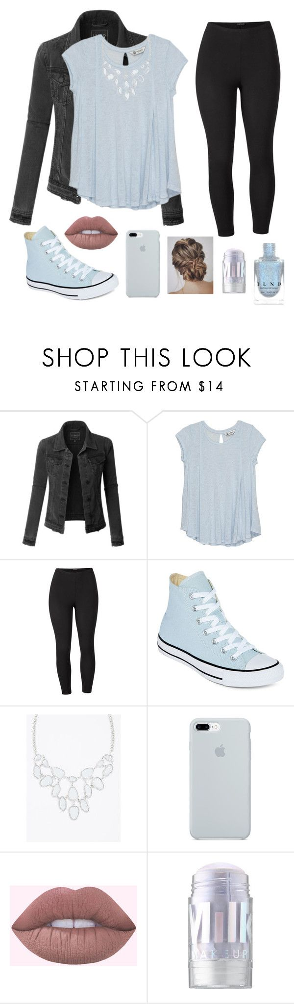 """""""Blue"""" by mollie-brock ❤ liked on Polyvore featuring LE3NO, Bobeau, Venus, Converse, Torrid, ETUÍ, MILK MAKEUP and plus size clothing"""
