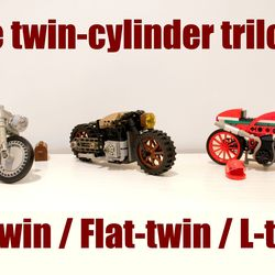 Who wouldn't have a nice set of cool motorcycles to complete his LEGO Creator car collection ? These 3 motorcycles have nearly the same scale (about 1/18)cr than sets : 10242 Mini Cooper, 10252 VW Beetle, 10220 VW Camper Van, 10248 Ferrari F40, etc. These bikes represent 3 popular Motorcycle style : Café-Racer for the red L-twin, Scrambler for the Flat-twin, and Cruiser for the V-Twin. These also represent 3 different visions of customing a bicycle : Italian style for the red L-twin…