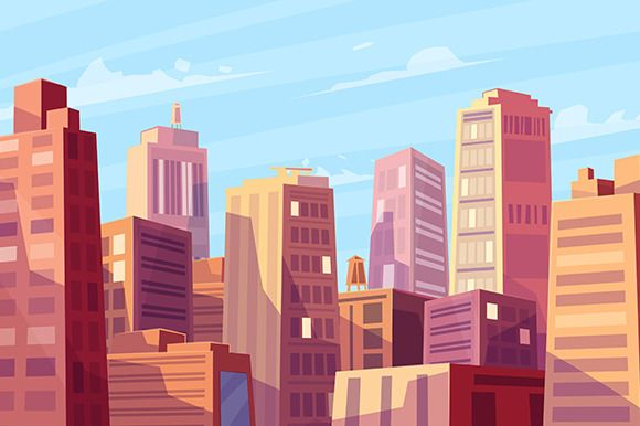 Sunshine over cartoon city (Vector) by Krol on Creative Market