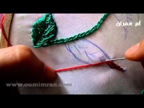 طرز ورقة وردة بطريقة سهلة مع ام عمران tarz rbati Arab Embroidery - YouTube