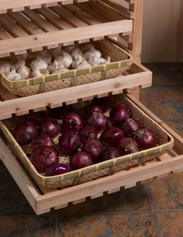 "Allow produce to sun-dry in the trays, then slip them right into the orchard rack for winter storage. The generously sized trays are made from woven bamboo with reinforcing slats on the bottom. You can use them as serving trays, too. Bamboo Approximately 21-1/4"" L x 18-1/2"" W x 3-1/8"" H Each tray holds up to 15 lbs. if weight is spread out evenly over tray surface Gardener's Supply Exclusive"