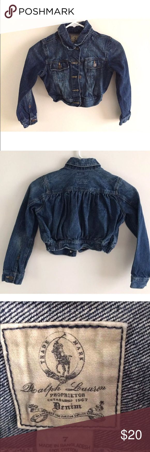 """Ralph Lauren Girl's Denim Jacket Size 7 Ralph Lauren Girl's Denim Jacket Size 7  Jacket is in great condition. No wear, stains or tears. All buttons are intact and comes from a smoke free home.  Armpit to Armpit: 14""""  Shoulder to Bottom: 13""""  Arm length: 16.5"""" Ralph Lauren Jackets & Coats Jean Jackets"""
