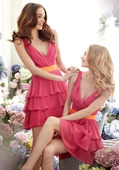 Chiffon A-Line V Neck Short Length Sleeveless Bridesmaid Dress With Tiers picture 1