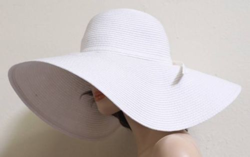009-Formal-Classy-Summer-Sun-Beach-Floppy-6-Wide-Brim-Bow-Band-Derby-Hat-White