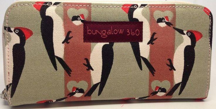 BUNGALOW 360 ~WOODPECKER~ CANVAS ZIP AROUND ORGANIZER WALLET NWT #Bungalow360 #ziparound