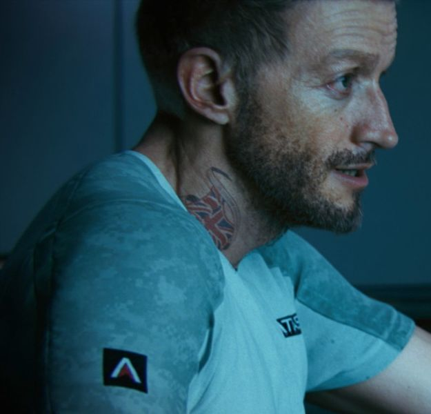 Gideon, Union Jack tattoo.
