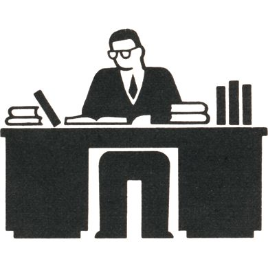 Gerd Arntz worker at desk