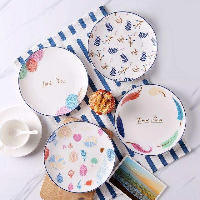 Plato de comida de estilo occidental plato de cerámica creativa contratada El Nórdico bandeja del desayuno plato de carne plato de casa de dibujos animados lindo