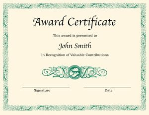 award certificate for word