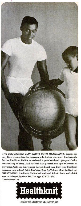 1963 advert for Healthknit men's and boys underwear.  The best dressed man starts with Healthknit.