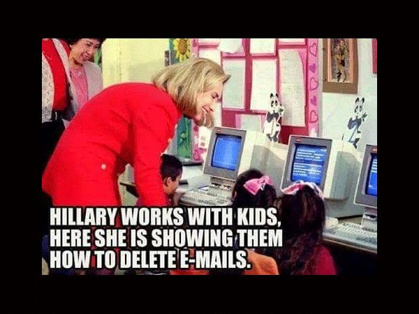 Hillary Clinton Shows Kids How To Delete E-mail Funny Meme