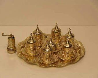 Handmade Turkish Coffee Cups / Coffee Cups / Cups / Cup / Turkish Coffee / Gold Color