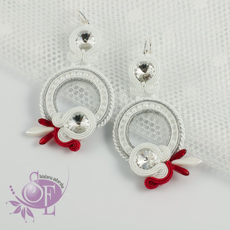 Bridal earrings - white red earrings - by SzkatulkaEmi on Etsy