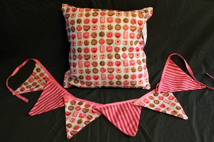 Candy Shop Cushion Cover & Bunting  http://www.facebook.com/MadeBySarah