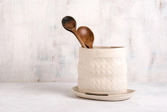Ceramic kitchen utensil holder  white utensil  jar  by FreeFolding
