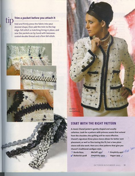"""Chanel Jacket """"Threads 121"""" (pg 6)   Article by Susan Khalje…   Flickr"""