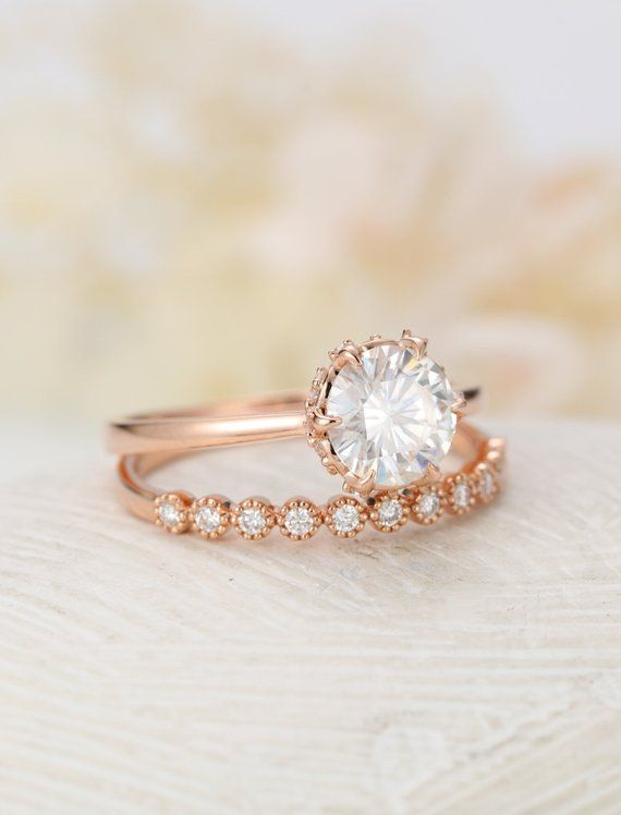 Art Deco Solitaire Moissanite Engagement Ring Vintage Rose Gold
