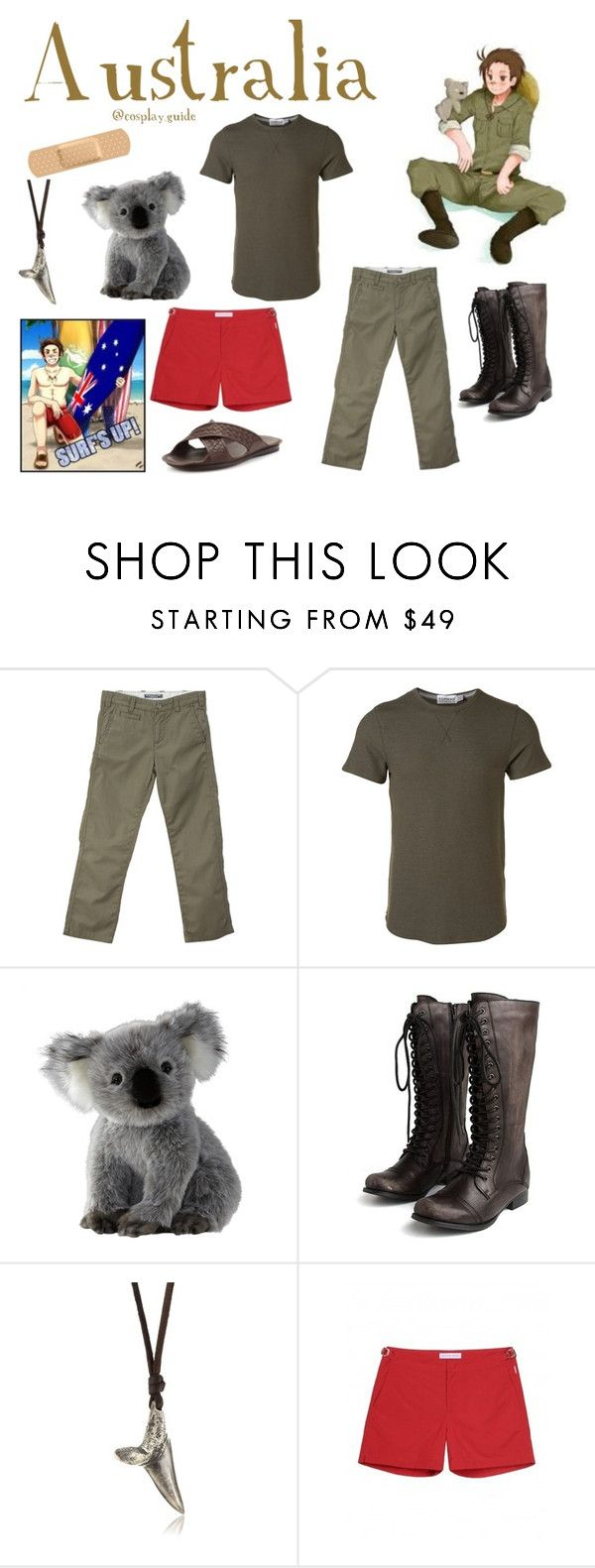 """Australia Hetalia cosplay outfit"" by consultingpolyvorer ❤ liked on Polyvore featuring Elijah, Topman, Miz Mooz, M.Cohen Handmade Designs, Orlebar Brown and Bottega Veneta"