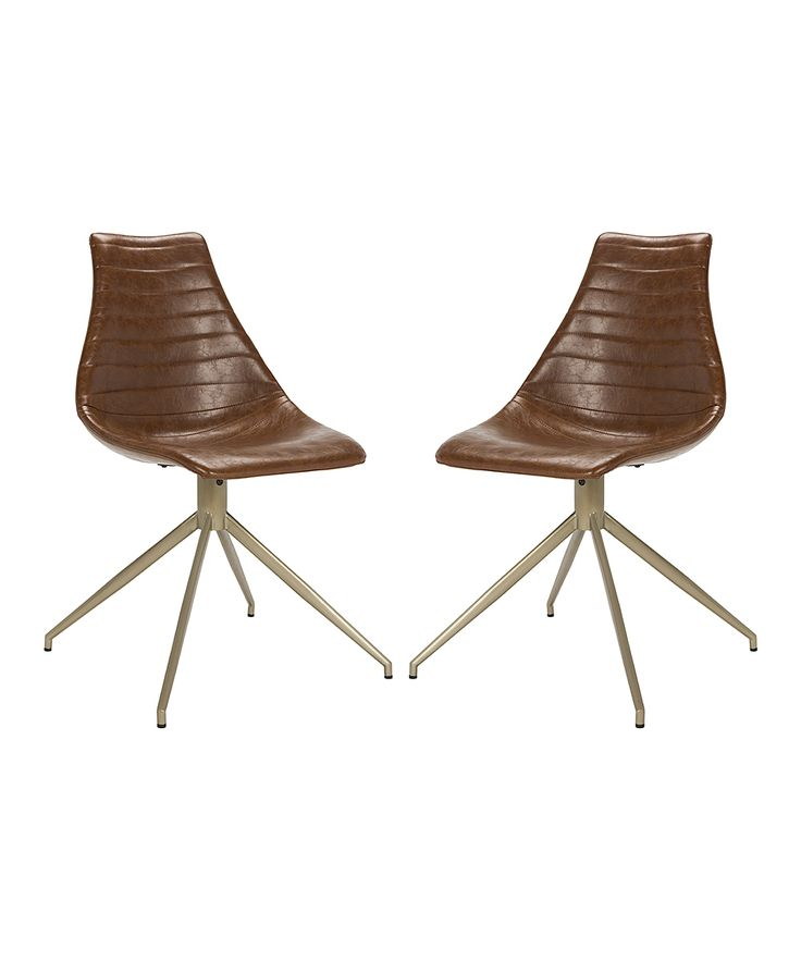 Light Brown Lynette Leather Swivel Chair - Set of Two