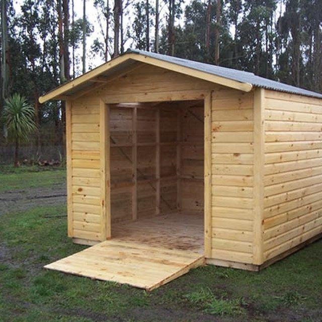 A standard homemade wooden shed ramp