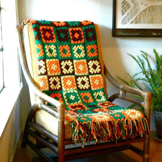 1970s Vintage Afghan... Knit Granny Square Blanket... GREEN ORANGE & YELLOW via Etsy