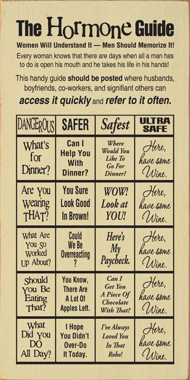 "HaHa...Love this! ""The Hormone Guide"" :)"